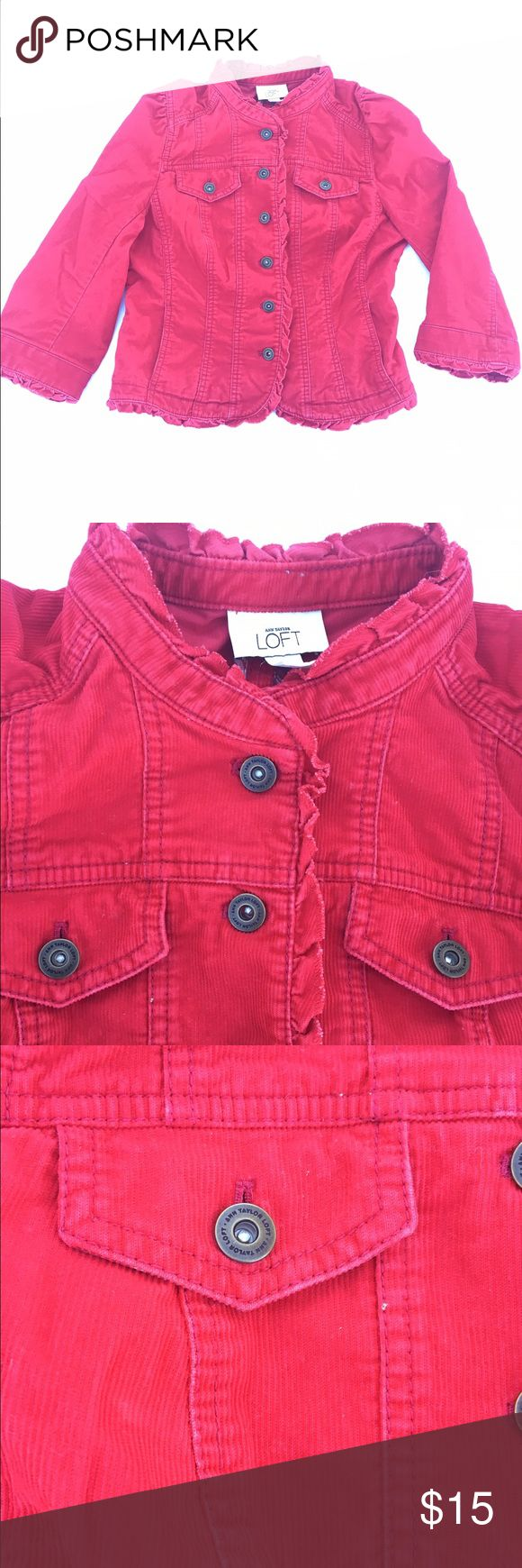 Anne Taylor loft long sleeve Stretch jacket Sz 6 Red • Long Sleeve • 6 buttons down the front • Stretch • Double chest pocket, slit pockets • Ruffled trim Ann Taylor Jackets & Coats