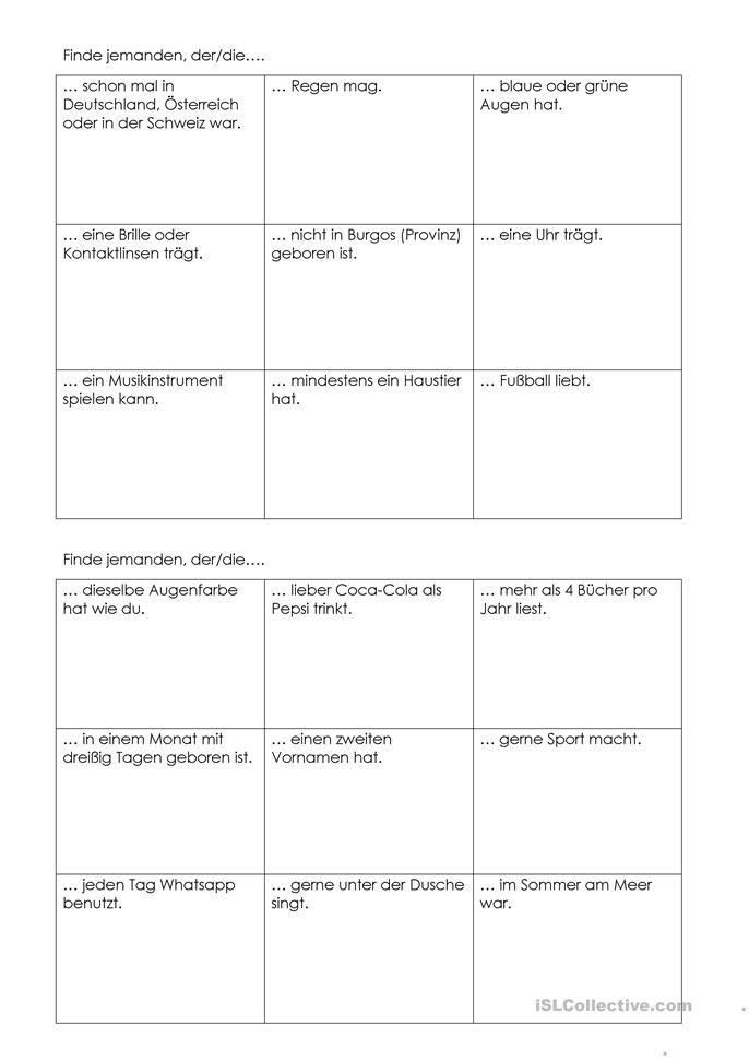 Kennenlern-Bingo