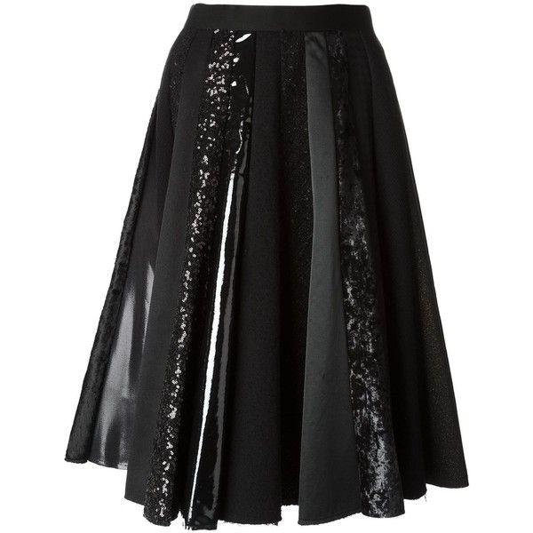Junya Watanabe Comme Des Garçons sequin embellished pleated skirt (17,980 MXN) ❤ liked on Polyvore featuring skirts, faldas, black, sequin skirt, pleated skirt and knee length pleated skirt