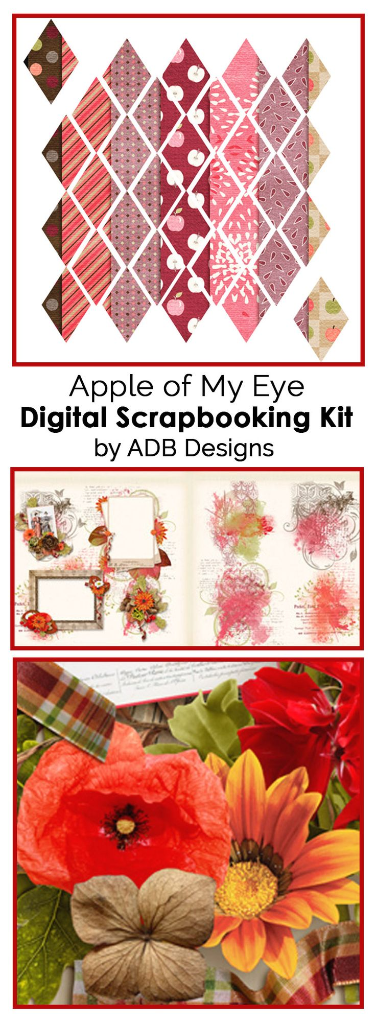 The Apple of My Eye Digital Scrapbook Petite Kits by ADB Designs each offer a unique feel of vintage but with bright, bold colors. Create your digital photoboook or print and cut for gorgeous hybrid projects.
