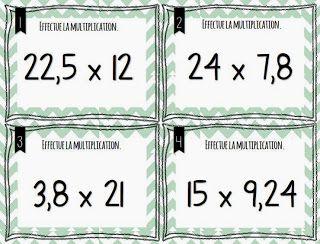 Cartes multiplications décimales