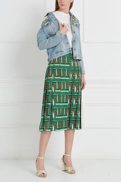 Шелковая юбка Gucci - Юбка в стиле 1970-х, столь актуальном сегодня десятилетии в интернет-магазине модной дизайнерской и брендовой одежды