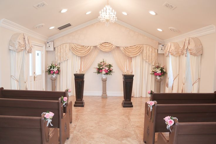 Altar Sprays and Ceremony Flowers at Chapel of the Flowers. The Victorian Chapel is a vintage inspired chapel with room up to 30 guests for an intimate ceremony. Wedding Packages start at $495. Contact our experienced wedding planners for a custom quote.