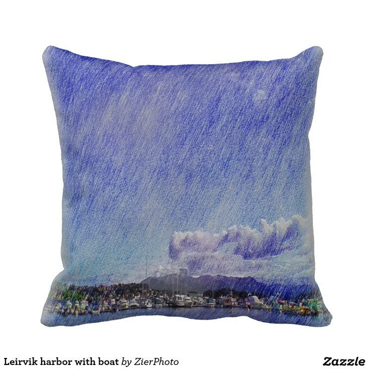 Leirvik harbor with boat throw pillows