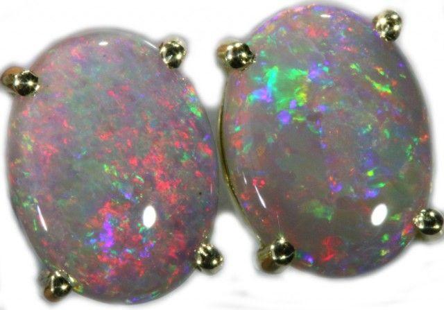 9.00 CTS 14K GOLD OPAL EARRINGS FROM LIGHTNING RIDGE [SOJ5636]  fire opal earrings , gold opal earrings , australian solid opal earrings