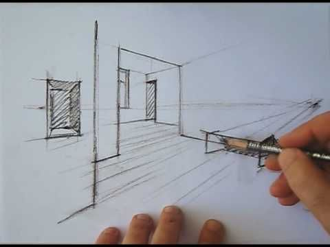 How to draw a basic 2 point freehand perspective drawing. Notice the use of lineweights to depict the depth in the drawing.  Construction lines are lightly drawn and help construct the drawing better.