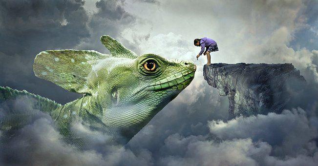 SV Skriva till bilder Fantasy, Dragons, Ödla, Feed, Barn