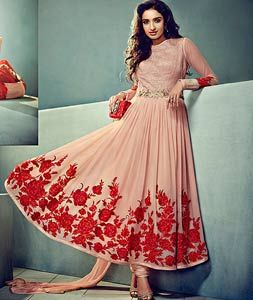 Buy Peach Chiffon Ankle Length Anarkali Suit 72698 online at lowest price from huge collection of salwar kameez at Indianclothstore.com.