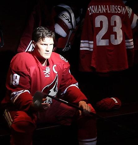 Captain Shane Doan filming a commercial spot for the Phoenix Coyotes upcoming season.