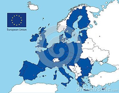 Vector file, illustration all the country of the european union and flag