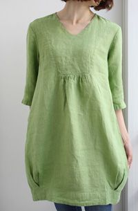 Cute little tunic with a yoke and pleats around the bottom edge :: ワンピース・1454-1|Lino e Lina オンラインストア