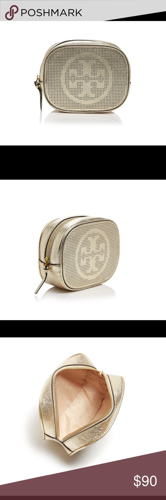 Tory Burch logo metallic leather cosmetic case % authentic Tory Burch logo perforated metallic leather cosmetic case spark gold NWT zip top closure logo lining never been used Tory Burch Bags Cosmetic Bags & Cases