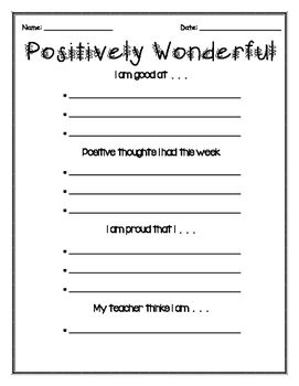 Are you trying to help your students build their self esteem or to take pride in themselves? These 2 worksheets are ideal for doing just that. Students will write about positive events, positive comments from others, and positive self talk in order to show them how wonderful they are.