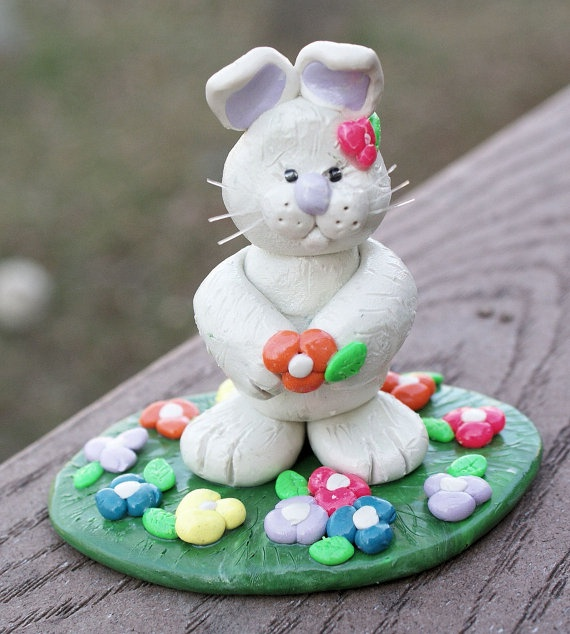 Easter Bunny Sculpture Polymer Clay Rabbit by KNjewelryNdesigns, $30.00