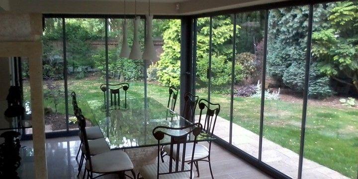 view through frameless glass doors