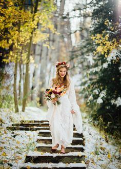 Boho bride in snowy