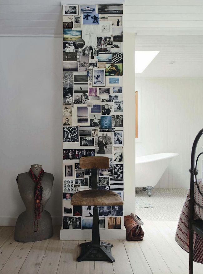 pareti con colonna di foto
