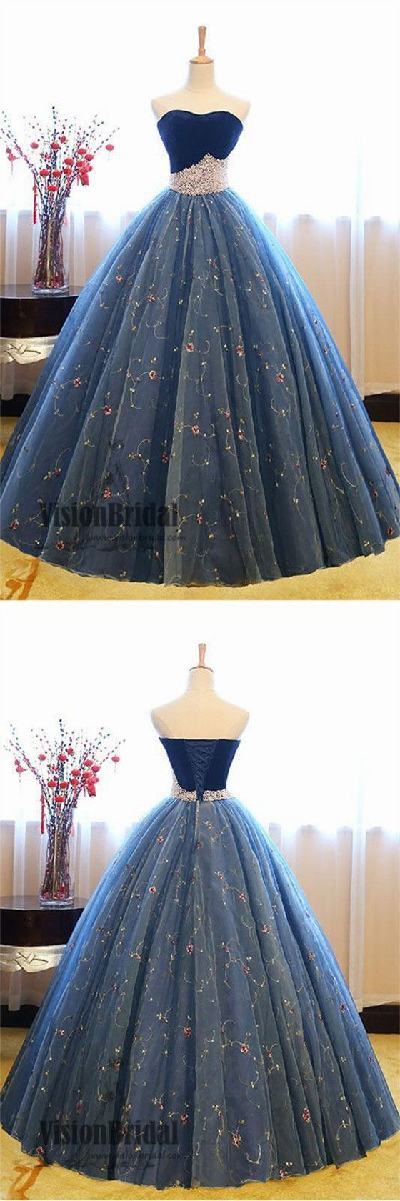 2018 Newest Sweetheart Lace Up Ball Gown With Pearl, Charming Sleeveless Prom Dress, VB0400 #promdress #promdresses #longpromdresses #ballgown