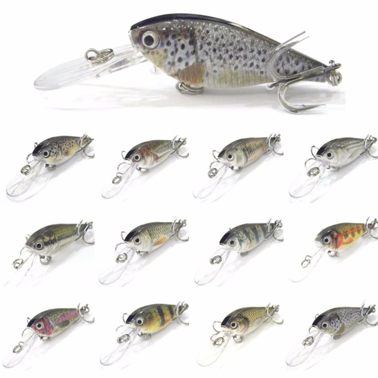 wLure Crankbait Hard Bait  Tight Wobble Slow Floating Deep Diver RealLife Painting Hard Baits Fishing Lure HC549