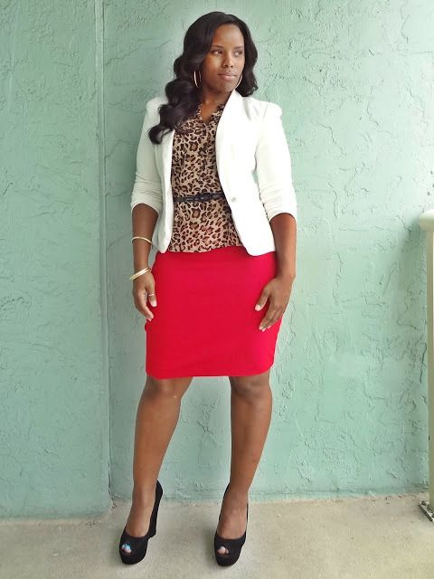 Red and leopard, trendy office outfits, summer office outfits, curvy chic office outfits