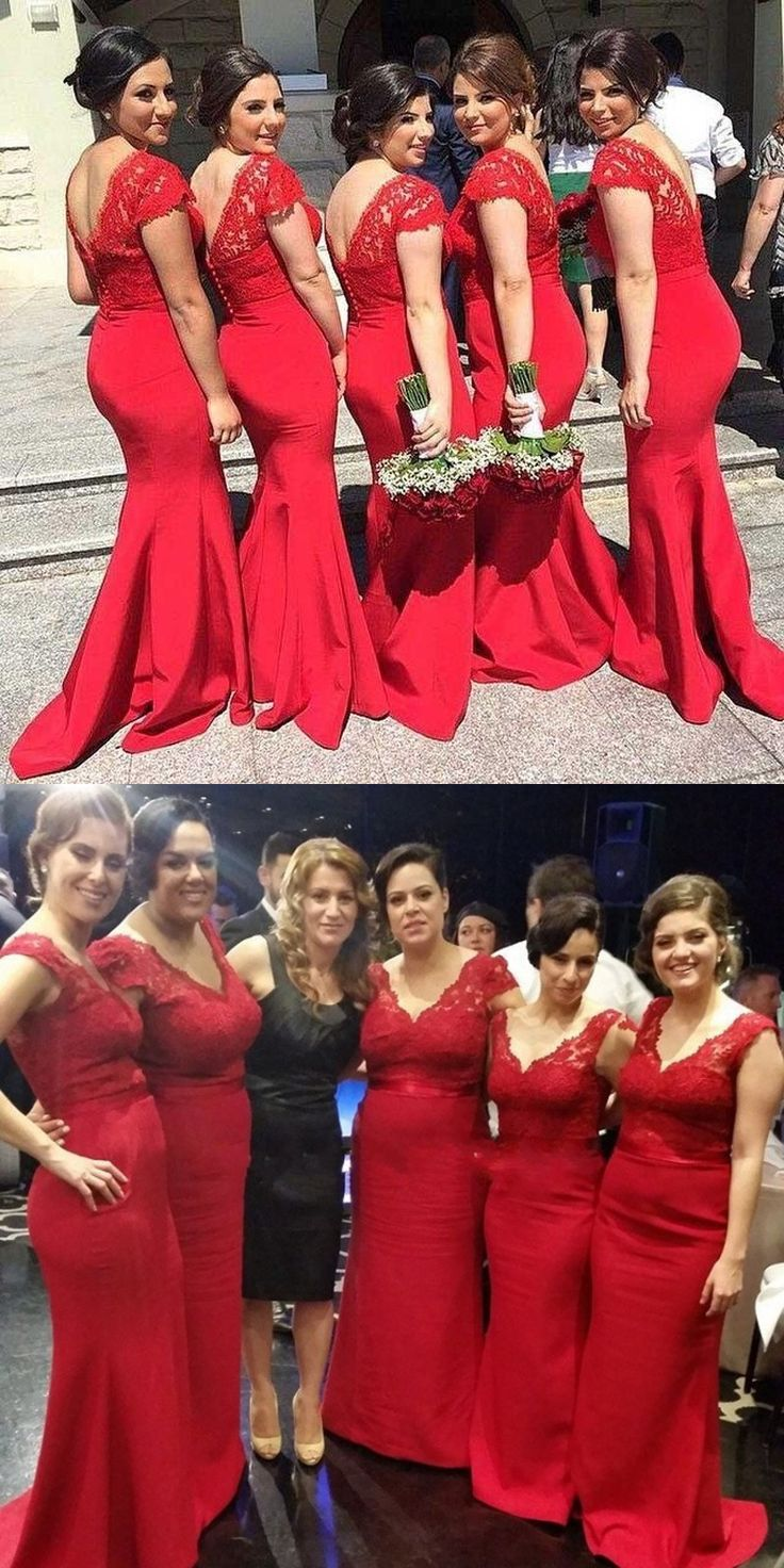 Mermaid bodycon bridesmaid dresses, elegant sweep Train Red wedding party dresses ,  luxury prom Dress with Sash Lace
