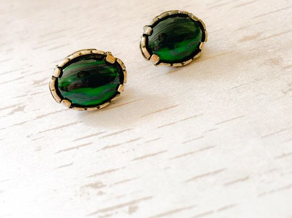 Vintage clip earrings, Miracle, 1960s, art nouveau style, green agate, Scottish, gift for her, birthday, anniversary, retro style, costume