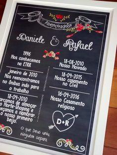 Lindo quadro tipo chalkboard, para as de pré-wedding e decoração. <br> <br> <br> - Tamanho 36.5x48,5 cm <br>-Moldura em madeira de 2 cm. <br>- sem vidro <br>- pôster impresso em papel especial Classic <br> <br>Personalizamos com o nome, data do casamento e algumas curtas historinhas que marcaram a vida do casal. <br> <br>* se quiser só o pôster faremos um ajuste no valor para 85,00 reais e o pôster será enviado em tubo postal.
