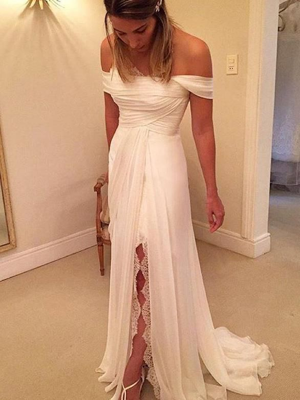eda535ec85ec Off-Shoulder A-Line Princess Split Side Ruffles Chiffon Wedding Dresses  OW150