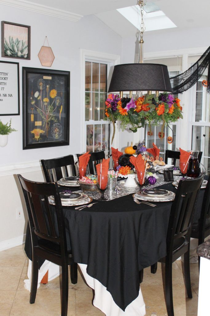 Halloween Centerpiece And Tabletop Decorations Ideas Black And White Halloween Table Decorations Halloween Table Halloween Table Centerpieces
