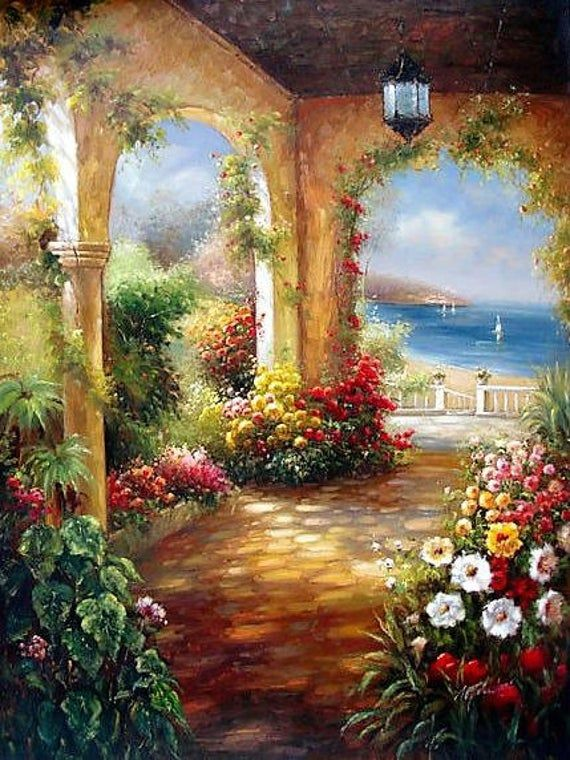 Garden Terrace By The Sea Cross Stitch Pattern Cross Stitch Etsy In 2020 Modern Art Abstract Art Painting Original Oil Painting
