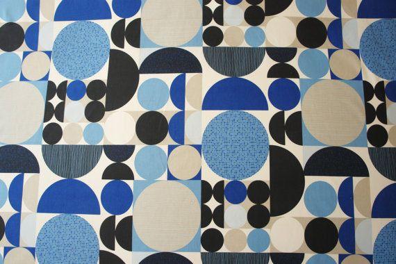 Scandinavian Fabric Curtain fabric Upholstery fabric Geometric fabric Canvas fabric Cotton canvas fabric Cotton fabric SPIRA Anita blue