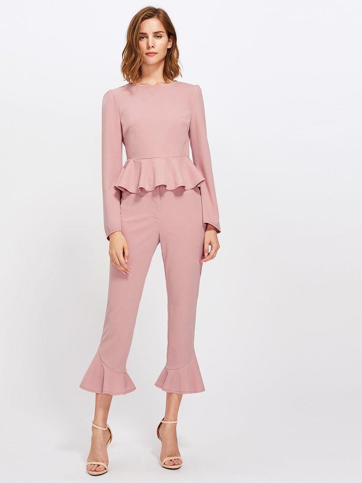 Bell Sleeve Peplum Top And Tailored Ruffle Hem Pants Set -SheIn(Sheinside)