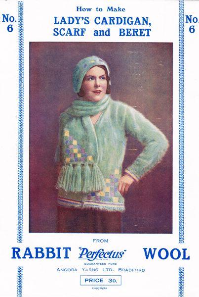 vintage 1920s angora fair isle scarf and jumper set knitting ...