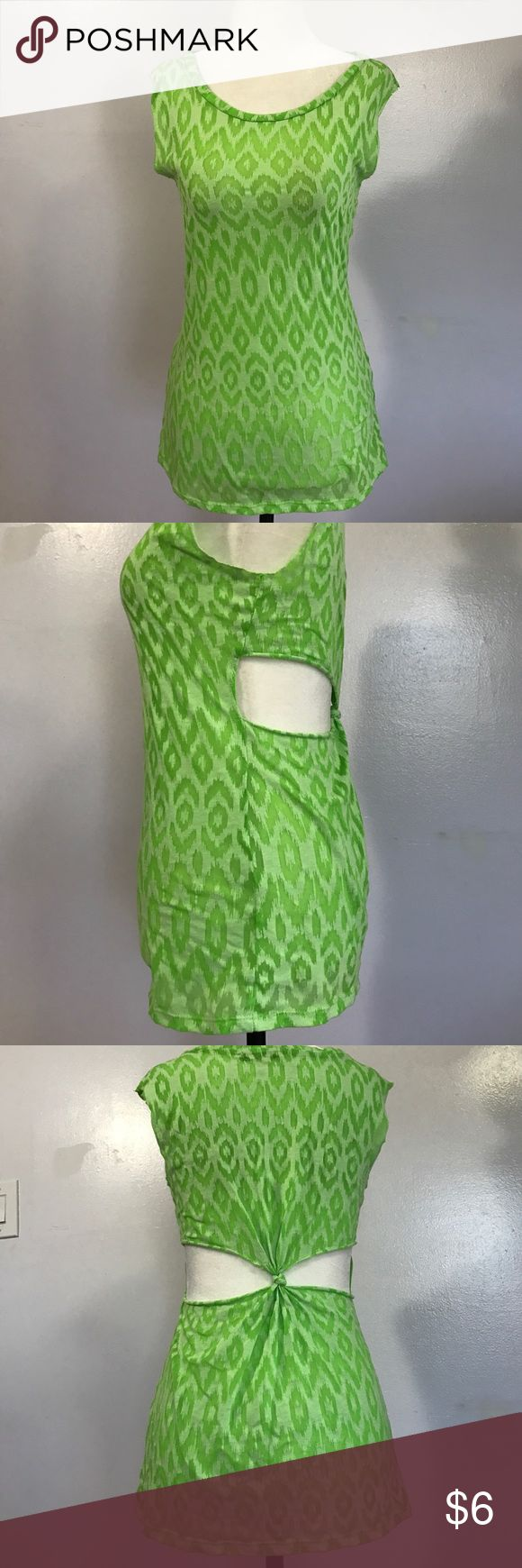 Deb Cut-Out Tank Top- Med Super cute lime green Burnout patterned top with cut out knotted back! Excellent condition 💚 Deb Tops Tank Tops