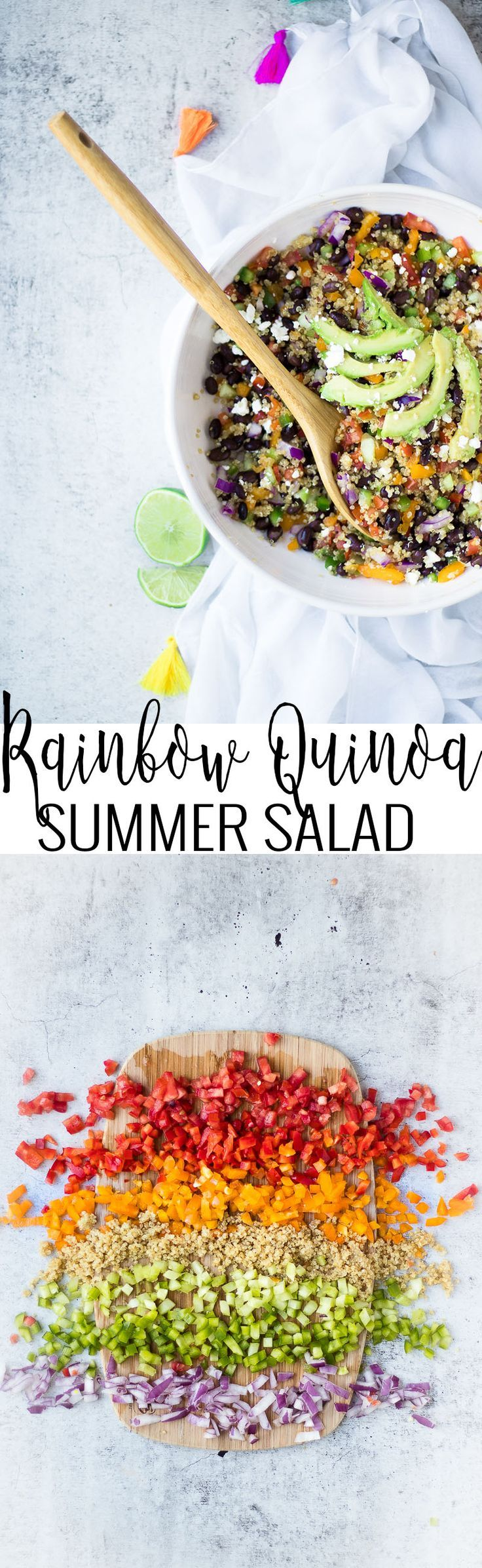 Rainbow Quinoa Salad | healthy dinner recipes | healthy salad recipes | salad recipe ideas | recipes using quinoa | how to cook quinoa | quinoa salad recipes | healthy lunch recipes | recipes using fresh vegetables | healthy summer salad | summer recipe ideas || Oh So Delicioso