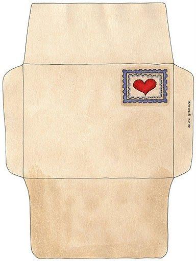 Sobres con corazones para imprimir-Imagenes y dibujos para imprimir