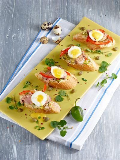 Bruschetta with Quail Egg and Salsa