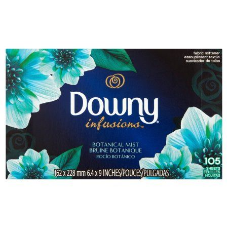 Downy Infusions Botanical Mist Fabric Softener Sheets, 105 count