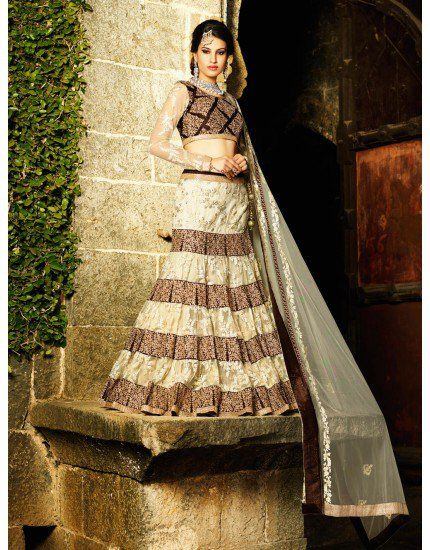Cream And Brown Net Lehenga Choli With Embroidery Work