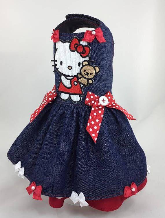 d9d5db473 Pet Dog dress Easter Spring Summer Blue Red White Denim Hello Kitty dress  xxs xs small medium | perritos | Dog dresses, Hello kitty dr…