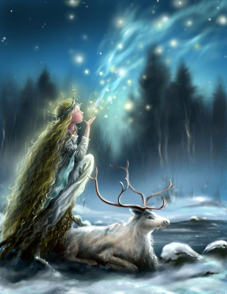 Northern Xmas by Morgainelefee.deviantart.com on @DeviantArt. A quick image painted in Photoshop from scratch, not very religious or X-mas related, but somehow inspired by the Nordic culture where I live: Santa Lucia, the white Reindeer and the magical Northern light, plus a hint of John Bauer, a great Swedish illustrator who was a master drawing Trolls and tiny Princesses.