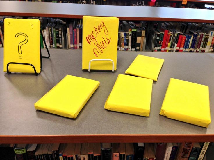 What's on display? It's a mystery! Thanks to Taylor M for the display idea and Zoe K for wrapping the books!