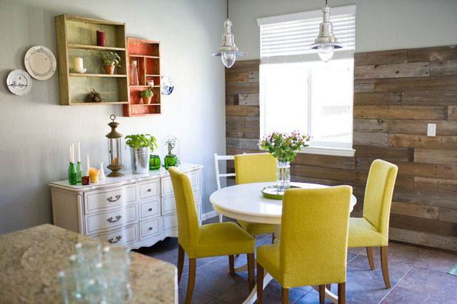 emily baker creative - homeKitchens, House Tours, Dining Area, Dining Room, Pallets Wall, Wooden Wall, Yellow Chairs, Wood Walls, Barns Wood