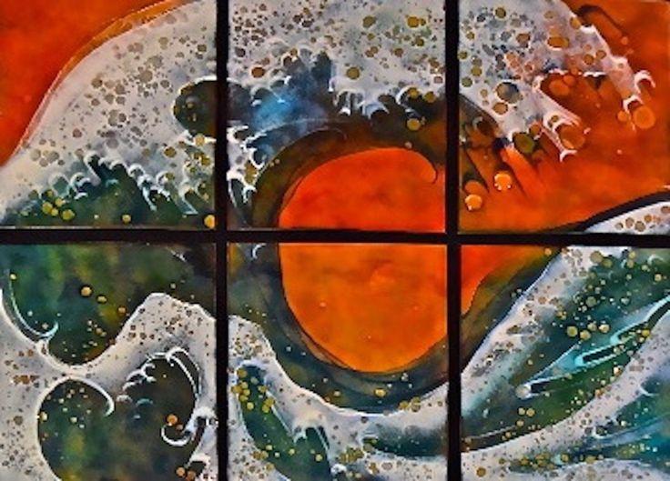 Wave Sextet by Cynthia Miller (Art Glass Wall Sculpture