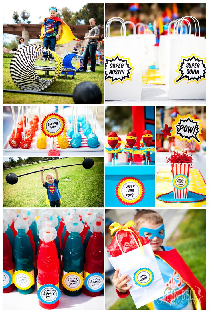 """Super Hero Birthday Party very cute ! """"Dumbells"""", mini trampoline & tunnels go with the """"superhero bootcamp"""" idea :)"""