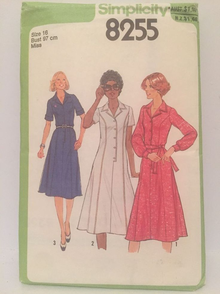 Vintage 70s Simplicity Shirt-Dress Sewing Pattern 8255 Size 16