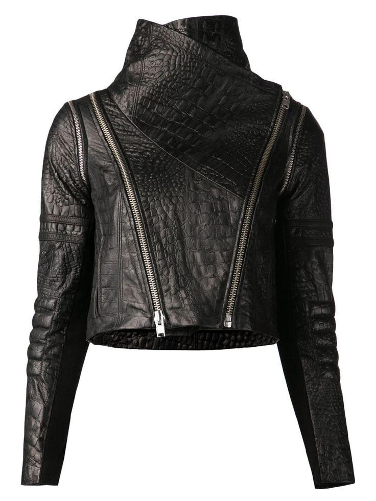 YIGAL AZROUEL crocodile effect biker jacket