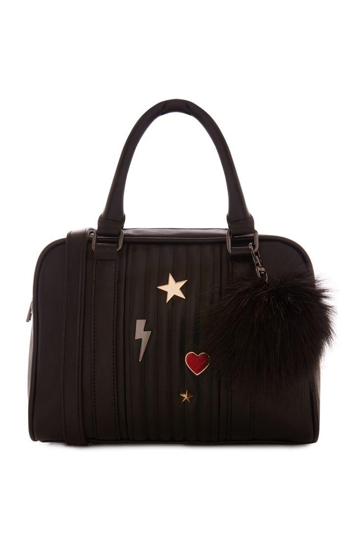 Primark - Schwarze Bowling-Tasche mit Aufnähern