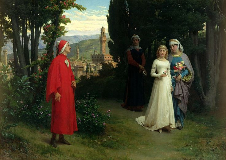 In that book which is my memory, On the first page of the chapter that is the day when I first met you, Appear the words: Here Begins A New Life.  ~ Dante Alighieri  Painting: First Meeting of Dante and Beatrice by Raffaele Giannetti