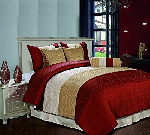 Amber Jacquard 7 Piece Down Alternative Comforter Set, Full, Burgundy/Gold /Begie